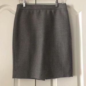 J. Crew No 2 Pencil Skirt Double Serge Wool Gray